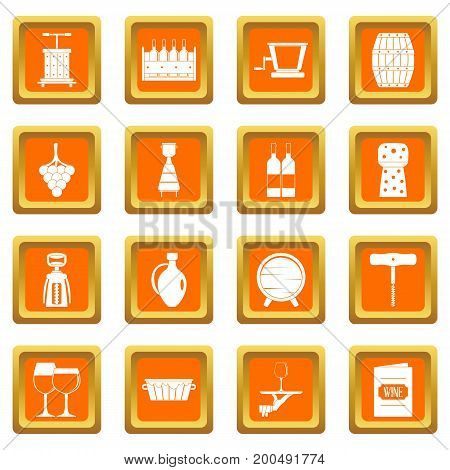 Wine icons set in orange color isolated vector illustration for web and any design