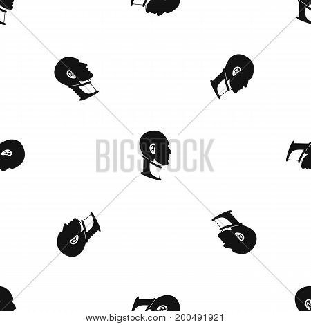 Cervical collar pattern repeat seamless in black color for any design. Vector geometric illustration