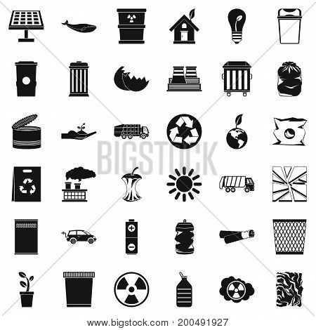 Ecology in planet icons set. Simple style of 36 ecology in planet vector icons for web isolated on white background