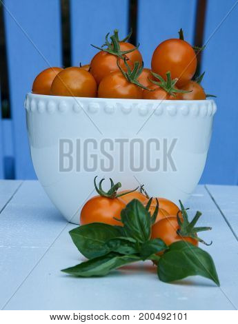 Orange Sun Gold cherry tomatoes, in a white bowl, on a white background.