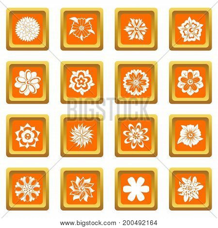 Different flowers icons set in orange color isolated vector illustration for web and any design