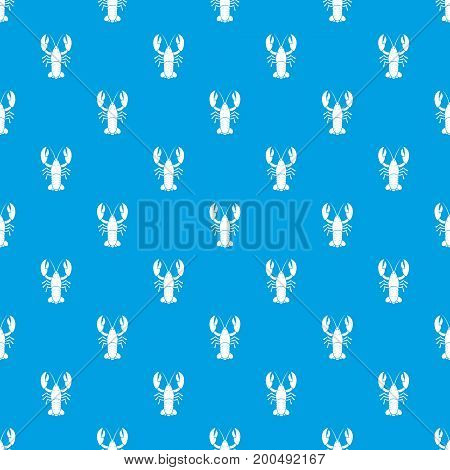 Crawfish pattern repeat seamless in blue color for any design. Vector geometric illustration