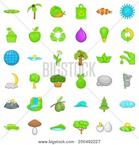 Green plant icons set. Cartoon style of 36 green plant vector icons for web isolated on white background