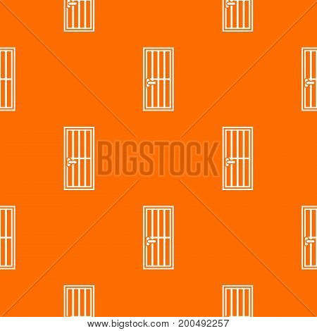 Steel door pattern repeat seamless in orange color for any design. Vector geometric illustration