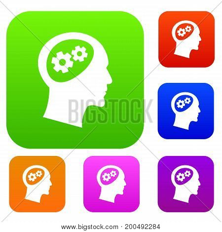 Gear in head set icon in different colors isolated vector illustration. Premium collection