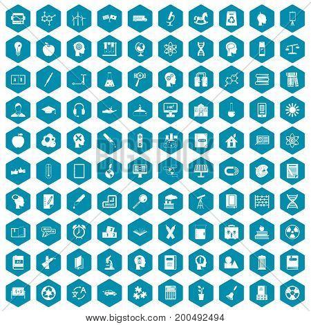 100 education icons set in sapphirine hexagon isolated vector illustration