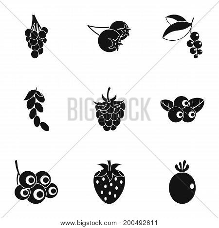 Berries icon set. Simple set of 9 berries vector icons for web isolated on white background