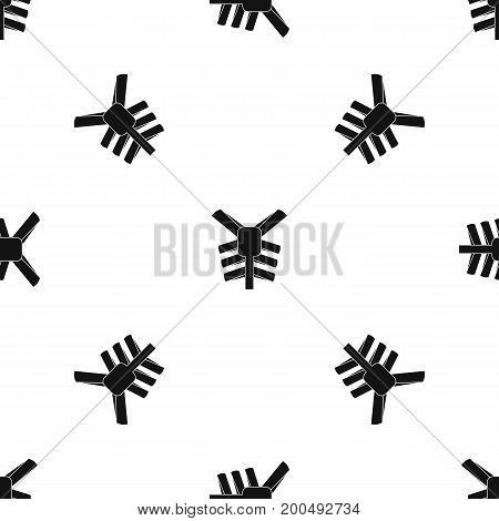 Human thorax pattern repeat seamless in black color for any design. Vector geometric illustration