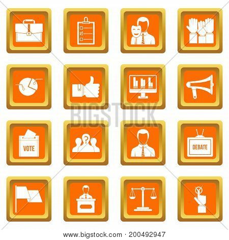 Election voting icons set in orange color isolated vector illustration for web and any design