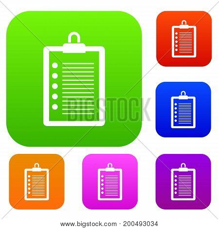 To do list set icon in different colors isolated vector illustration. Premium collection
