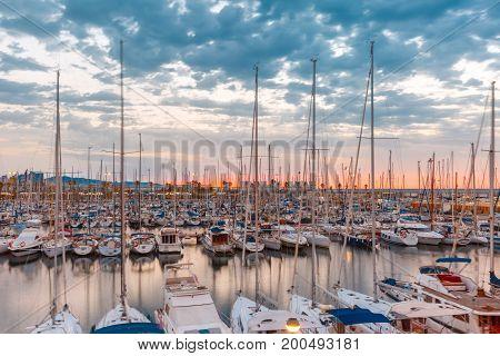 Marina Port Vell at sunrise in Barcelona, Catalonia, Spain.