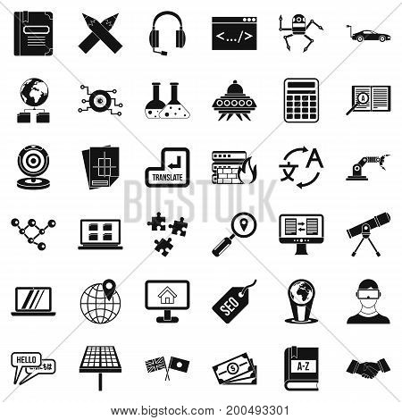 Learning technology icons set. Simple style of 36 learning technology vector icons for web isolated on white background