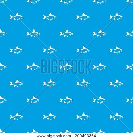 River fish pattern repeat seamless in blue color for any design. Vector geometric illustration