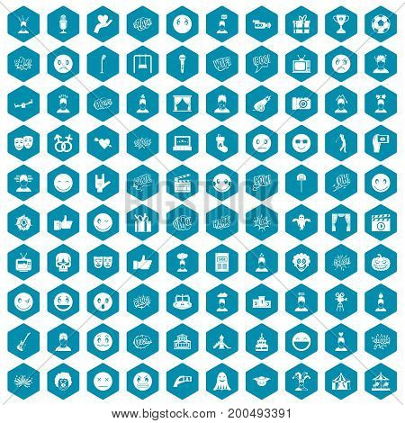 100 emotion icons set in sapphirine hexagon isolated vector illustration