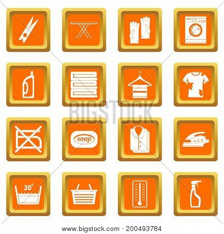 Laundry icons set in orange color isolated vector illustration for web and any design