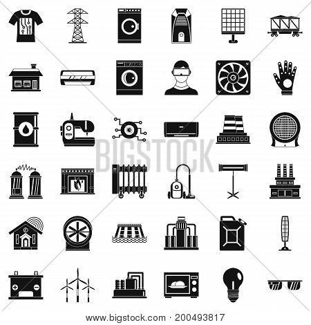 Saving electricity icons set. Simple style of 36 saving electricity vector icons for web isolated on white background