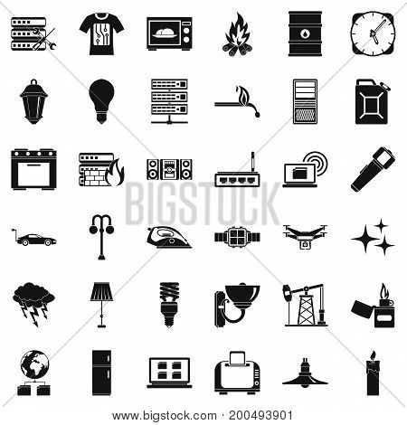 Electricity server icons set. Simple style of 36 electricity server vector icons for web isolated on white background