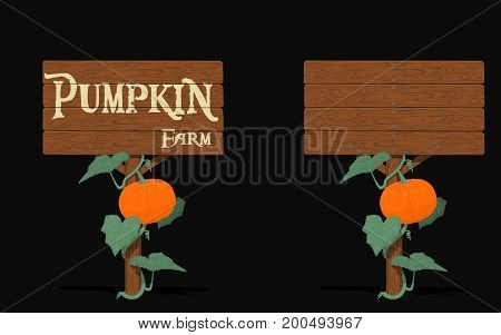 Isolated signpost with pumpkin on black background