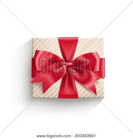 Realistic gift box tied with red ribbon with bow knot. Vector illustration isolated on white.