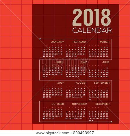 2018 Red Modern Grid Printable Calendar Starts Sunday Vector Illustration. EPS 10