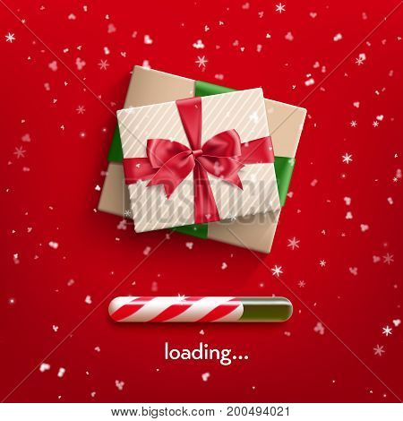 Realistic gift box tied with ribbon with red bow knot and realistic christmas candy cane progress bar . Vector illustration red background with flakes of snow.