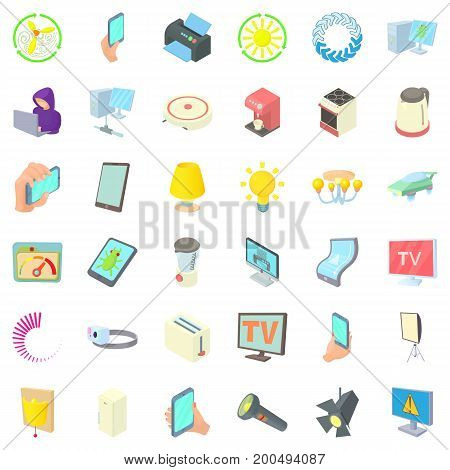 Electricity toaster icons set. Cartoon style of 36 electricity toaster vector icons for web isolated on white background