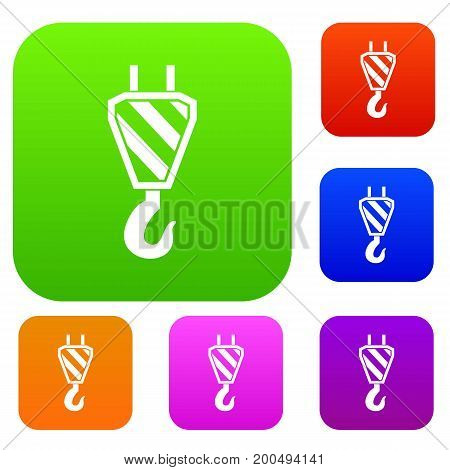 Crane hook set icon in different colors isolated vector illustration. Premium collection