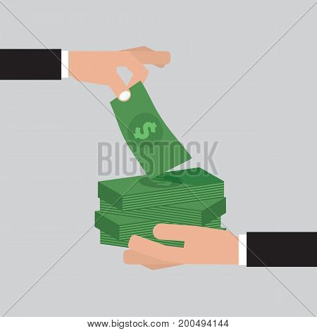 Hand Giving Many Bunches Of Money To Other Hand Vector Illustration. EPS 10