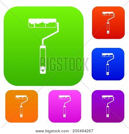 Paint roller set icon in different colors isolated vector illustration. Premium collection