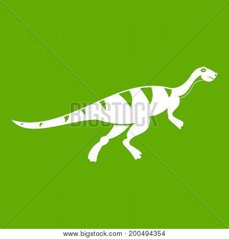 Gallimimus dinosaur icon white isolated on green background. Vector illustration
