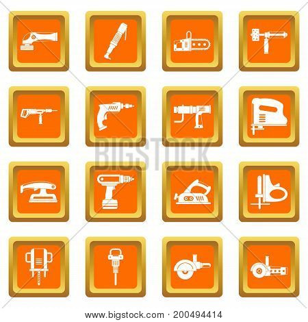 Electric tools icons set in orange color isolated vector illustration for web and any design