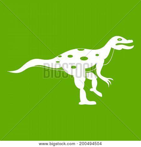 Ornithopod dinosaur icon white isolated on green background. Vector illustration