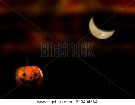Halloween pumpkin trick or treat with moon