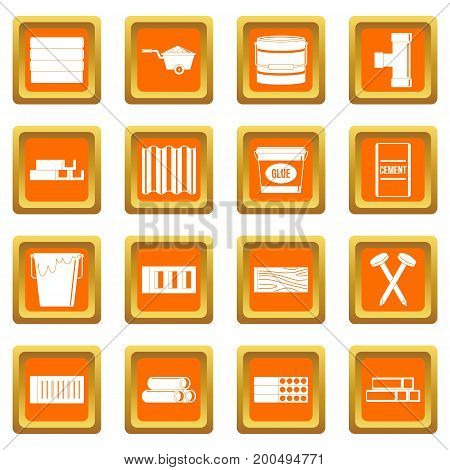 Building materials icons set in orange color isolated vector illustration for web and any design