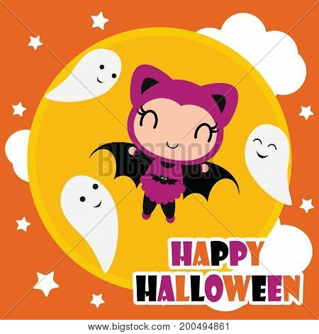 Cute bat girl fly with ghosts on the sky vector cartoon illustration for halloween card design, wallpaper and kid t-shirt design
