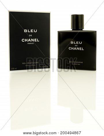 Winneconne WI - 19 August 2017: A bottle of Bleu De Chanel shower gel on an isolated background