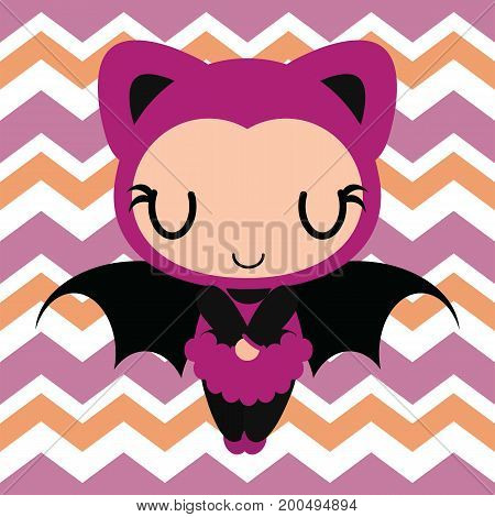 Cute bat girl sleeps on chevron background vector cartoon illustration for halloween card design, wallpaper and kid t-shirt design