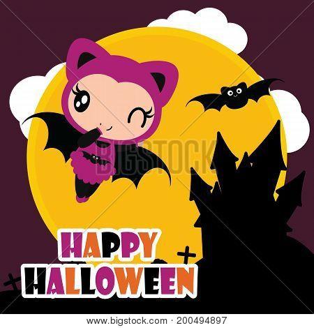 Cute bat girl fly with black bat vector cartoon illustration for halloween card design, wallpaper and kid t-shirt design