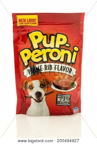 Winneconne WI - 19 August 2017: A bag of Pup Peroni treats in prime rib flavor an isolated background