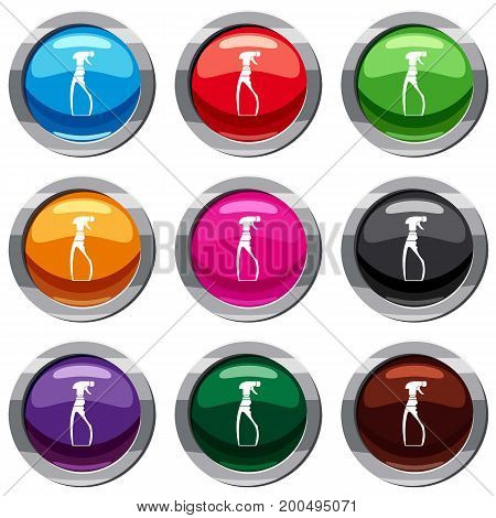 Sprayer bottle set icon isolated on white. 9 icon collection vector illustration
