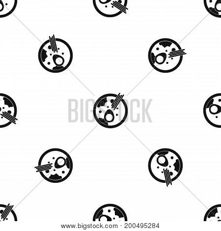 Miso soup pattern repeat seamless in black color for any design. Vector geometric illustration