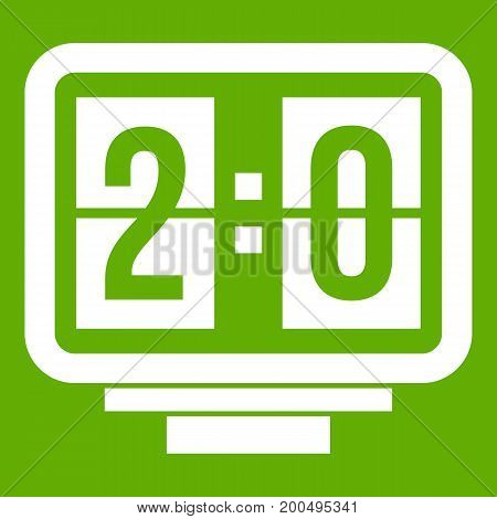 Soccer scoreboard icon white isolated on green background. Vector illustration