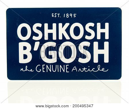 Winneconne WI - 20 August 2017: An Oshkosh B'Gosh gift card on an isolated background