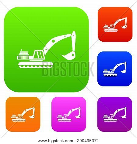 Excavator set icon in different colors isolated vector illustration. Premium collection