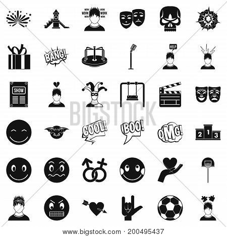 Stressed emotion icons set. Simple style of 36 stressed emotion vector icons for web isolated on white background