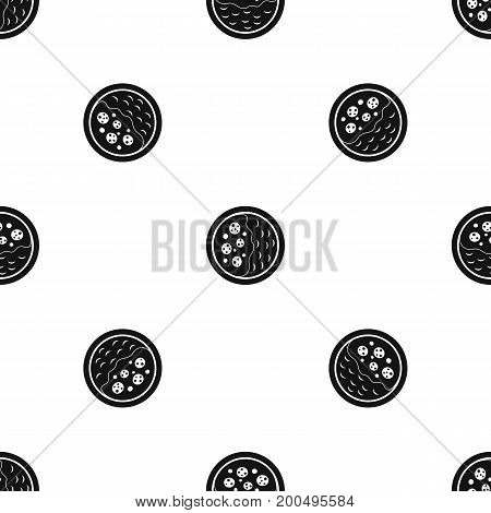 Asian soup pattern repeat seamless in black color for any design. Vector geometric illustration