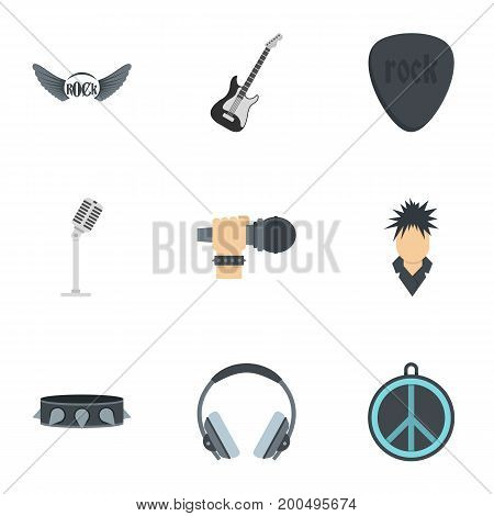 Rock music icon set. Flat set of 9 rock music vector icons for web isolated on white background