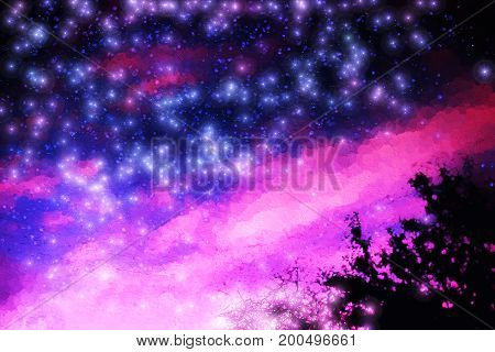 Pink and purple night stars illustration background hd