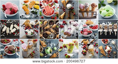 Variety of ice cream, pops and cold desserts collage
