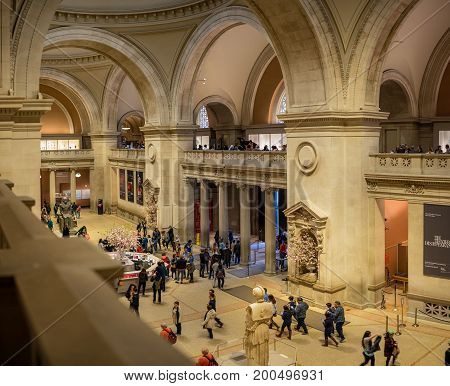 New York NY. USA - May 6 2017. In the lobby of the Met Museum of Art